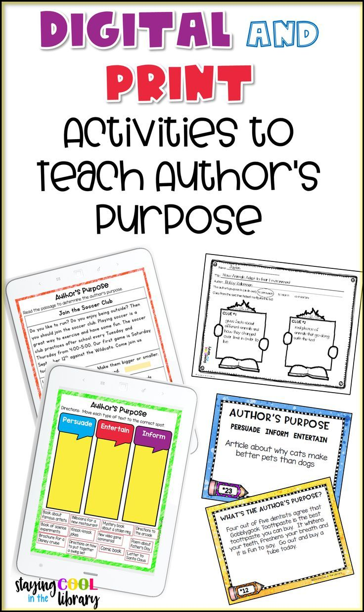 Teach Author S Purpose With Print Or Digital Lesson Plans Graphic Organizers Task Cards Google Slides Le Authors Purpose Authors Purpose Activities Teaching