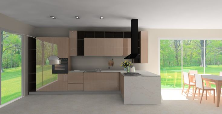 Projekt nowoczesnej eleganckiej kuchni otwartej na salon w kolorze brązowym. Zabudowa kuchenna zaprojektowana jest w kształcie litery L. Układ meblowy rozpo