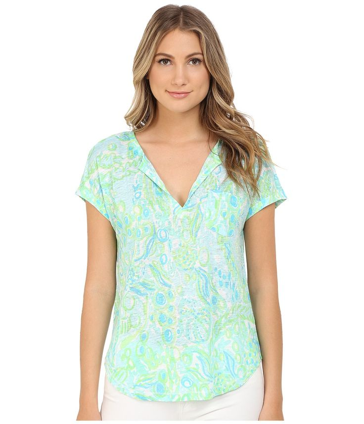 LILLY PULITZER LILLY PULITZER - DUVAL TOP (POOL BLUE ANY FINS POSSIBLE) WOMEN'S CLOTHING. #lillypulitzer #cloth #