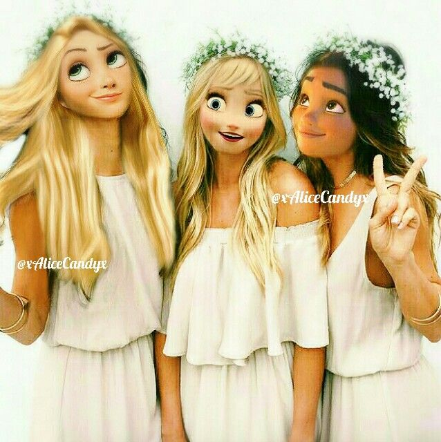 Elsa+Rapunzel+Moana modern edit by Alice D&D_youtube
