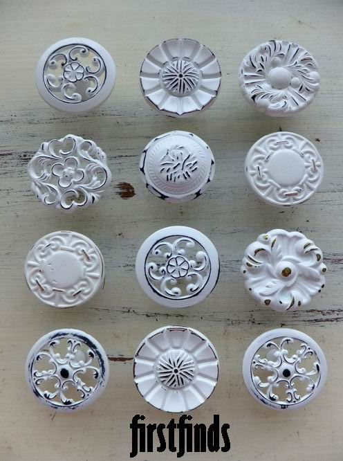12 Misfit Shabby Chic Kitchen Cabinet Knobs Vintage by Firstfinds, $70.00