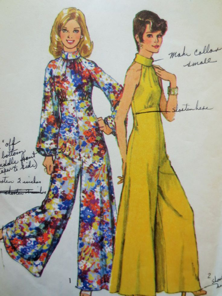 Vintage Simplicity 5570 Sewing Pattern, 1970s Jumpsuit Pattern, Wide Legged Pantsuit, Palazzo Pants, Halter Top, Bust 34, 70s Sewing Pattern by sewbettyanddot on Etsy