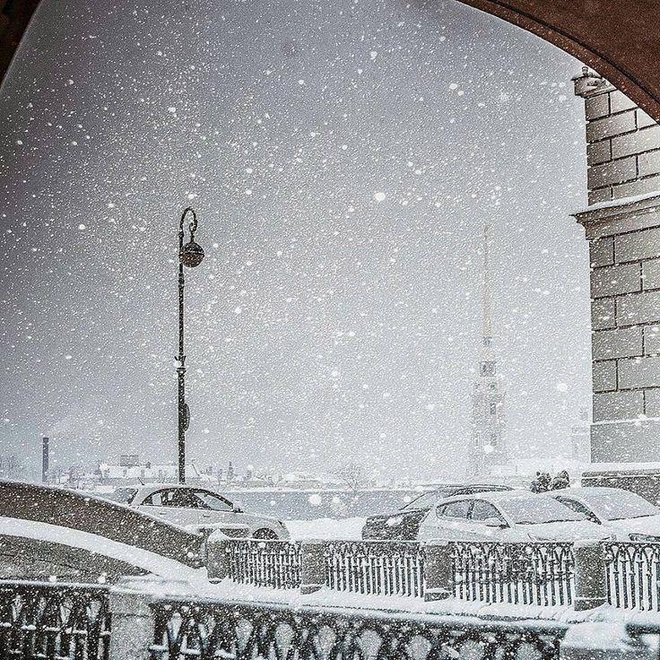 Снегопад в Питере. 7 ноября. 2016 года