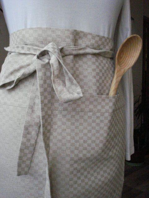 Pure Linen/Cotton Kitchen Cafe Bistro Half Apron Man