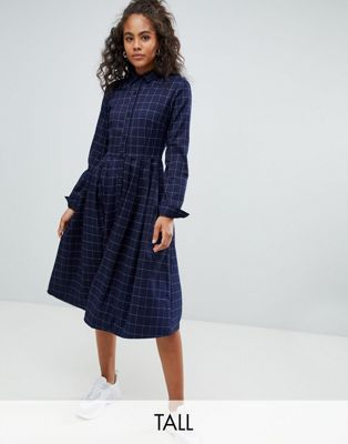 41ab96f7169e62 Image 1 of Glamorous Tall midi shirt dress with pleated skirt in grid check  print