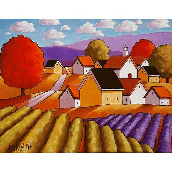 Art Print 5x7 Folk Art Giclee Country Town by SoloWorkStudio