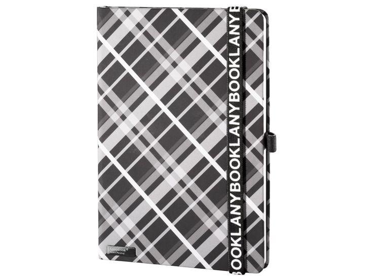 Originální zápisník Lanybook s károvaným motivem v černobílém provedení, Lanyband v černé barvě s bílým potiskem.