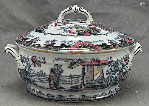 Gorgeous Antique English Porcelain Soup Tureen Traditional Asian Design 1800's