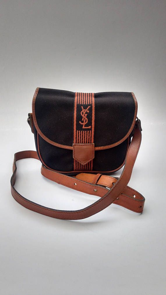 e3339a0ad4d9 YSL Yves Saint Laurent Vintage Black and Tan   Brown Shoulder ...