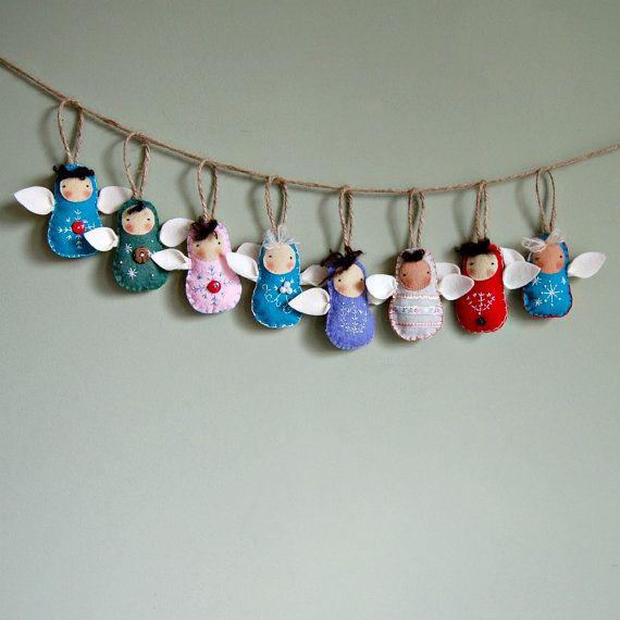 Wool Felt Angel Ornament  Hand Stitched  Waldorf by PauperHandmade