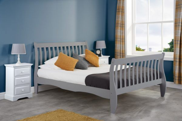 Birlea Belford Small Double 4FT Bed Frame 120cm Grey Wood Sleigh Solid Wood