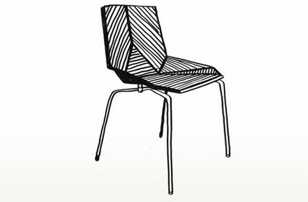 First sketch Green chair by Javier Mariscal and mobles 114 editions
