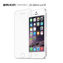 Baixin originais 0.3mm 2.5d vidro temperado protetor de tela para iphone 5 5S 5c SE HD Temperado Película Protetora + pano de Limpeza Kit alishoppbrasil