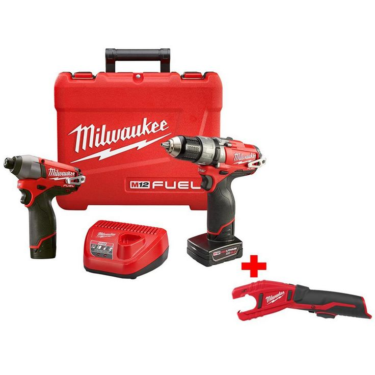 Milwaukee M12 Fuel 12-Volt Lithium-Ion Brushless Cordless 1/2 in. Hammer Drill/Impact Combo Kit w/ Free M12 Copper Tubing Cutter