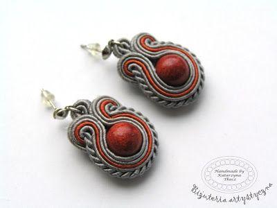 www.facebook.com/... Rękodzieło-biżuteria sutasz. Handmade-soutache jewellery. #grey #valentinesday #earrings #kolczyki #coral #walentynki #prezent
