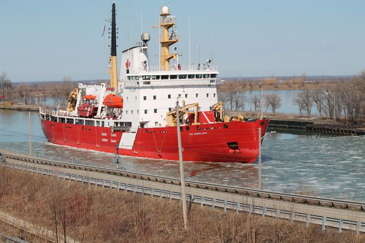 The Canadian Coast Guard ship going through the Welland Canal lock.