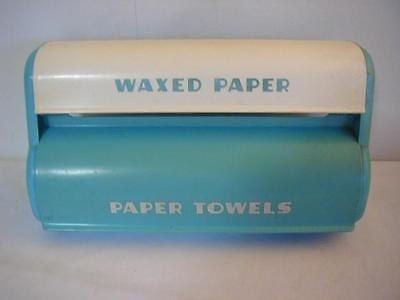 1950s Lustro Ware Aqua Paper Towel & Wax Paper Holder