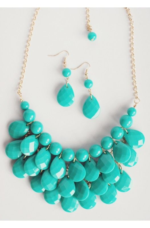 """""""Teardrop"""" Multi Layer Necklace Earring Set-     Length: 24""""!!    Available in other colours!! Shop Only at A$15.00."""