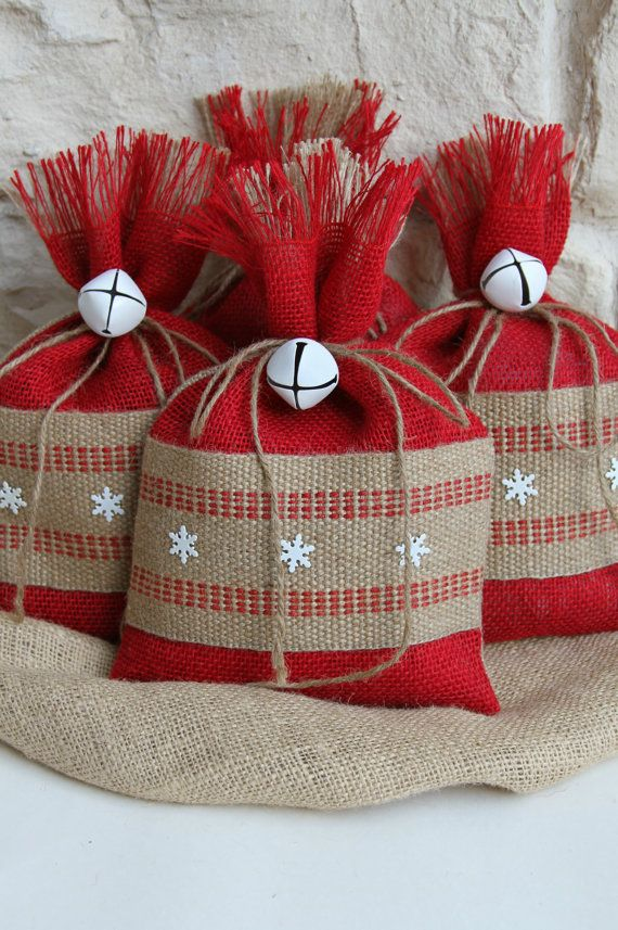 Burlap Gift Bags, Set of FOUR, Shabby Chic Christmas Wrapping, Red and Natural…
