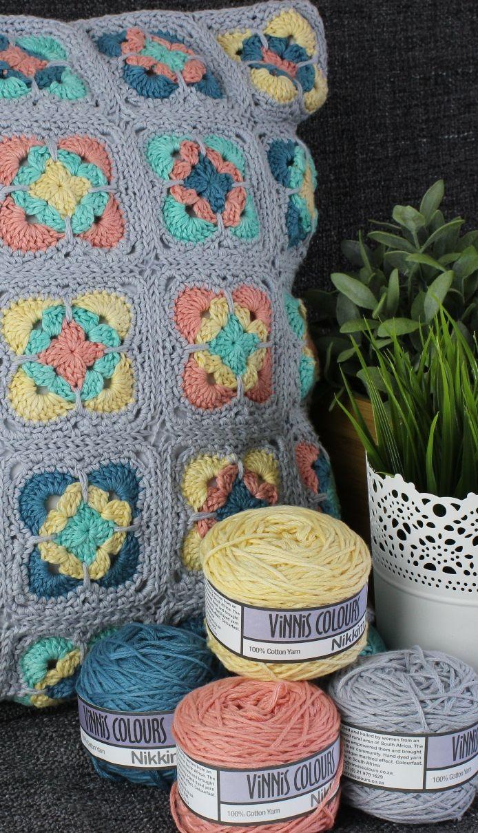 Vinni's Colour Nikkim Crochet Cushion -  Vinni's Free Pattern @ Black Sheep Wools