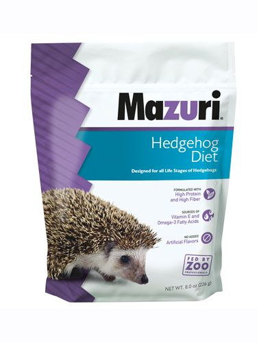Mazuri® Hedgehog Diet is a complete hedgehog food that simulates the high-protein, high-fiber diet of this small insectivorous mammal. Although gut loaded insects may be part of the hedgehog diet, no supplementation is needed when using this hedgehog food, which contains taurine at levels that meet the recommendations for carnivores.