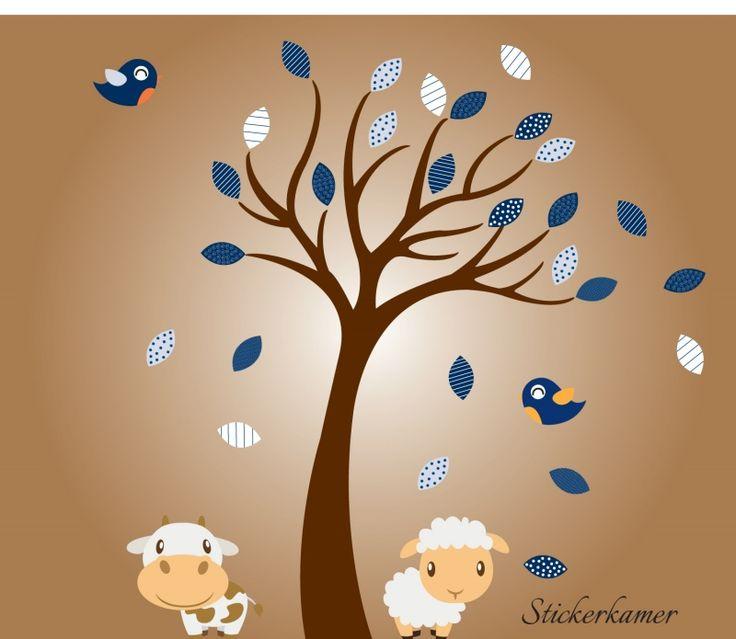 Muursticker jongenskamer met koe en schaap(thema blauw)