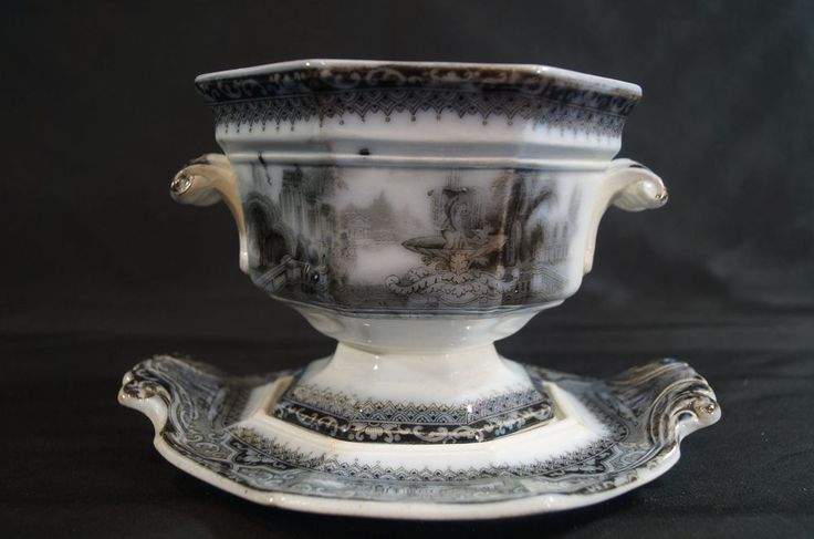Adams Athens Flow Black Transferware Ironstone Sauce Tureen & Under Tray C. 1849 | Pottery & Glass, Pottery & China, Art Pottery | eBay!