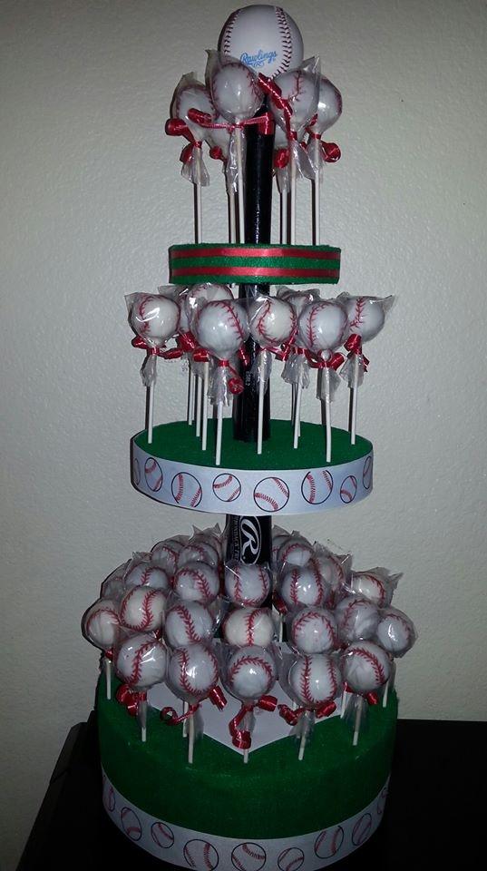 Baseball Cake Pops by Taste-E-Bakes. Find us on FB or e-mail at tasteebakes@yahoo.com
