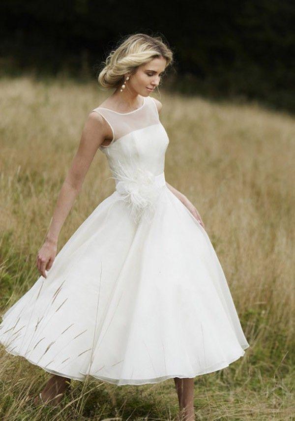 Simple Sleeveless Bateau Neck Tea Length #Wedding Dress with Hand Made Flowers 2017