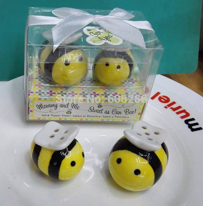40pcs=20sets/lot Birthday Souvenirs Mommy and Me Sweet as Can Bee Ceramic Salt and Pepper Shakers Baby Shower Return Gifts