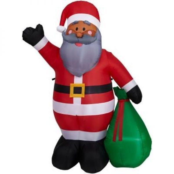 6.5 Ft CHRISTMAS AFRICAN AMERICAN SANTA CLAUS INFLATABLE YARD HOLIDAY DECOR  NEW