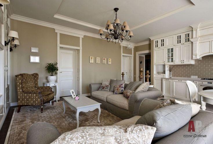 Фото интерьера зоны отдыха небольшой квартиры в стиле Прованс