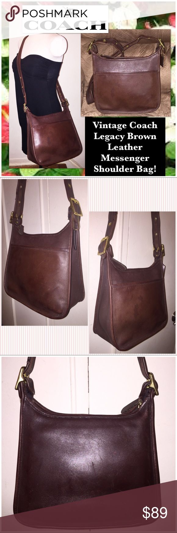 """VTG Coach Legacy Leather Messenger Shoulder Bag! Vintage Coach Legacy Brown Leather Messenger Shoulder Bag! 100% authentic, made in USA, front ext slip pocket, brown leather adj shoulder (up to 20.5"""" clearance strap), brass hardware, int zip pocket, 3 int slip pockets, top zip closure, unlined, Coach hang tag, creed & serial No. on inside. G0D-9966. Measurements: 10"""" high (side), 9 1/2"""" high (mid) x 11"""" across x 4 1/2"""" wide (bottom). Ret:$329 Minor ext marks. VG cond. Offers welcome. Coach…"""