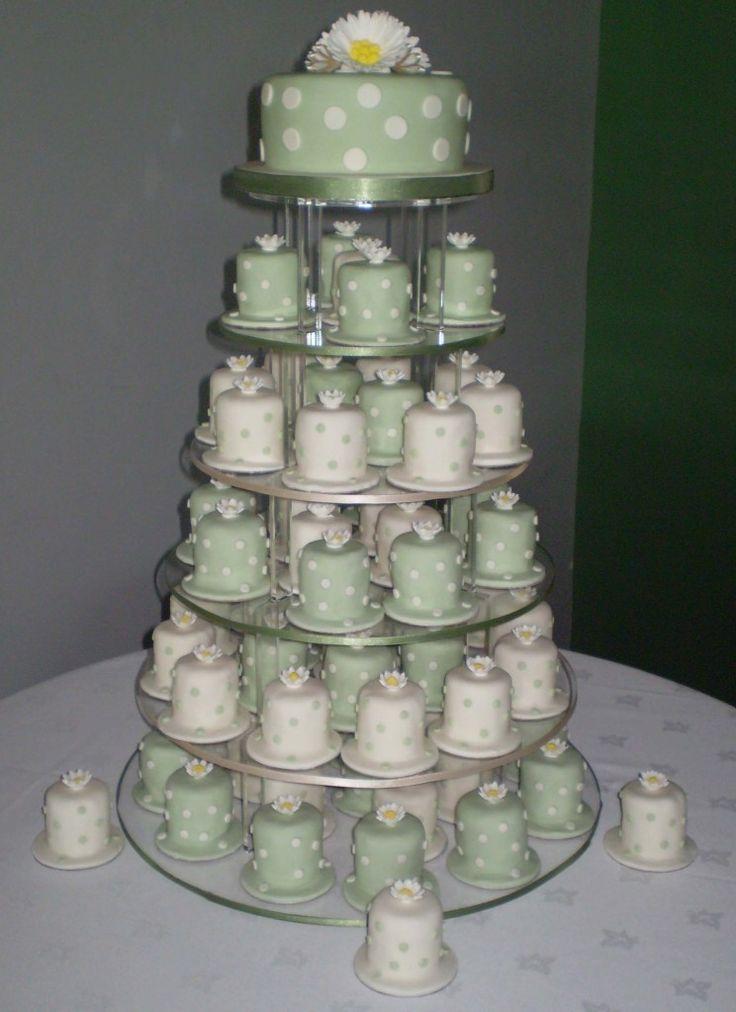 Polka Dot Daisy Mini Cakes In Sage And Cream