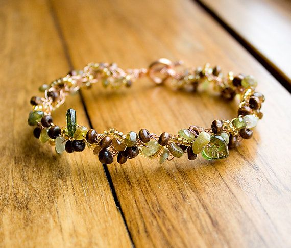 Green Garnet Wood and Gold Glass with Czech Glass Leaves by HowlOwl.