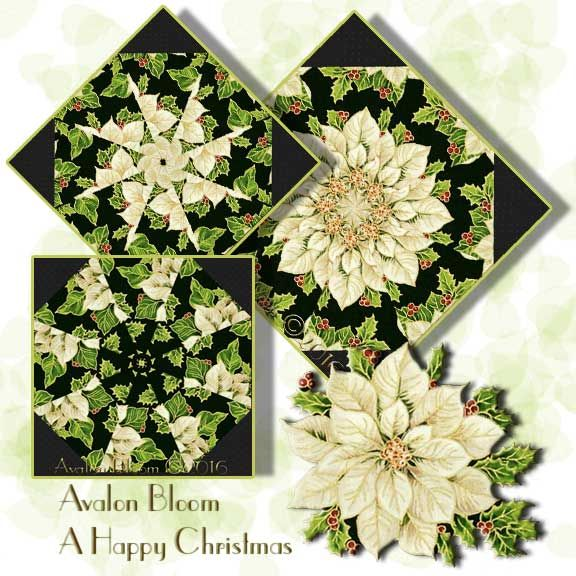A Happy Christmas Kaleidoscope Quilt Block Kit A Happy Christmas by Fabri-Quilt featuring a White Poinsettias and Holly. Colors include black,white, red, and green, with gold metallic accents. Fabri-Quilt Pattern 114-60316. The precut corners are included. This is a precut kit to sew a set of 12 kaleidoscope quilt blocks. Finished dimension for all blocks sewn together is 24 X 32 inches Each block measures 8 1/2 inches square when sewn. Fast and Easy Blooming Blocks©