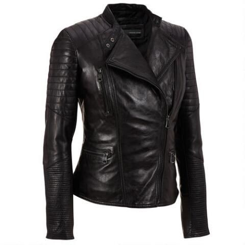 Wilsons Leather Asymmetrical Leather Moto Jacket w/ Quilting - Online Only - Women's & Plus Size - Wilsons Leather