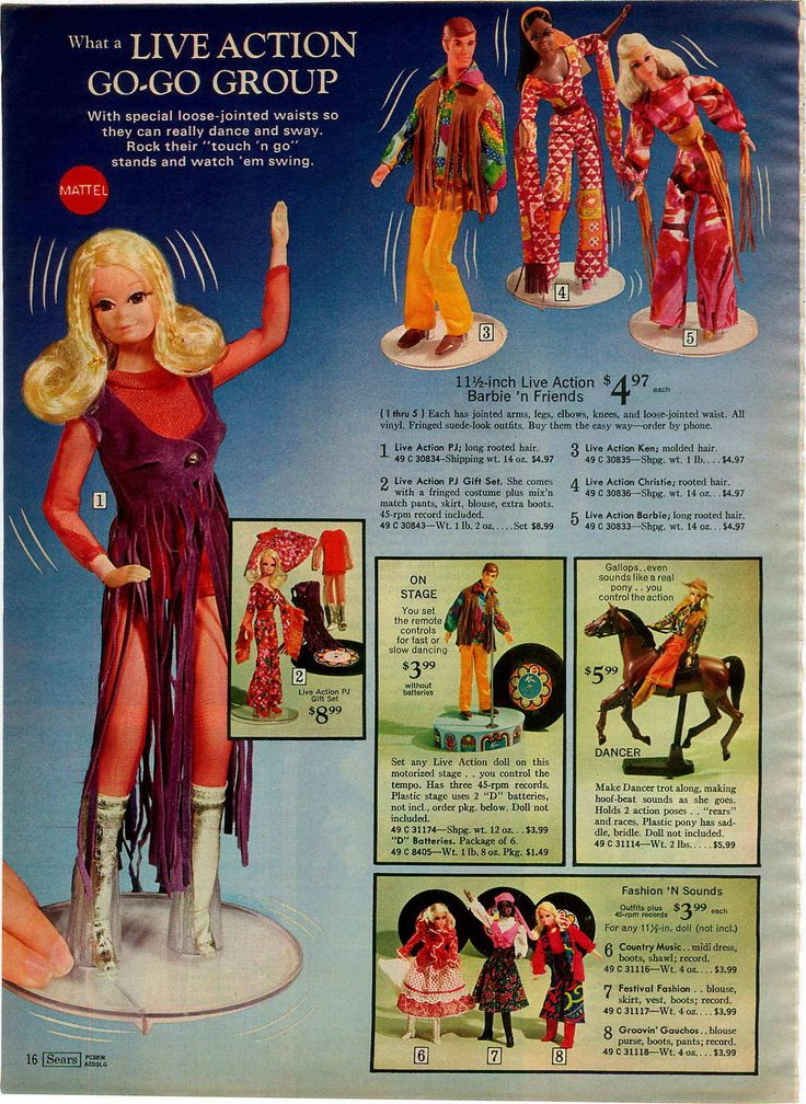 Live Action P.J., Ken, Christie & Barbie, Barbie's Horse Dancer and Fashions with Records from the Sears Christmas Catalog, 1972