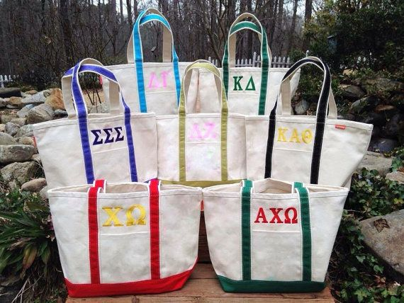 Monogrammed Canvas Tote / boat tote / sorority bag / bid day bag