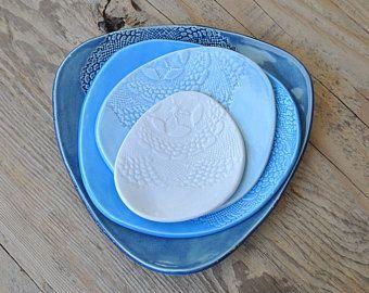 Set di 4 - Set piatto blu in ceramica, Centrino timbrato a mano piatti di lato, che serve piatti, piastre in ceramica Tapa