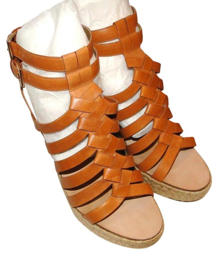 Belle By Sigerson Morrison Leather Gladiator Sandals Camel Wedges. Get the…
