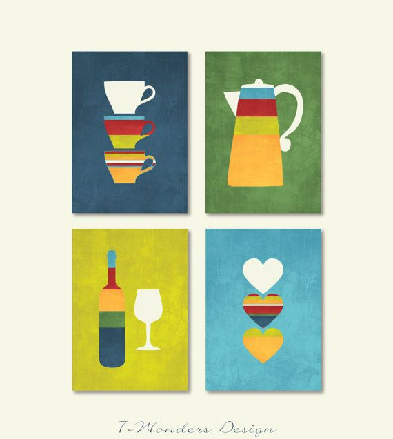 Bright U0026 Sassy Kitchen Art Set By 7 Wonders Design