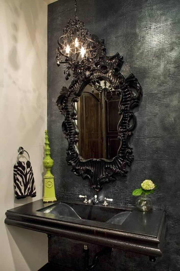 Bathroom , Gothic Bathroom Decor Ideas : Black Ornate Mirror Gothic Bathroom Decor
