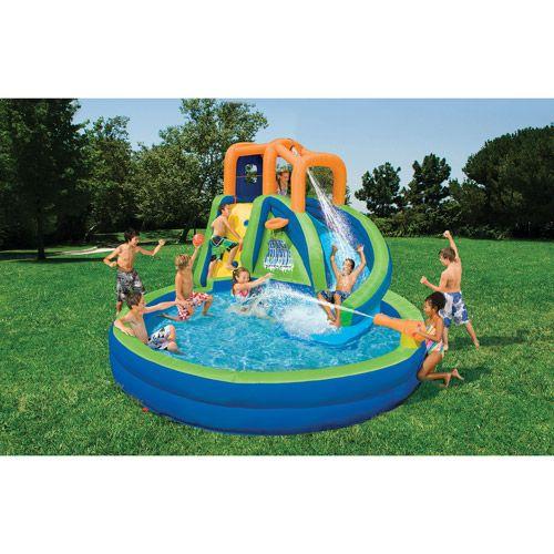 Inflatable Water Slide Toddler: Banzai Big Curve Plunge Inflatable Water Slide Park The