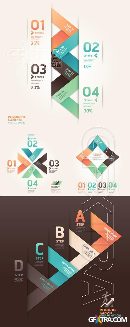 Modern origami infographics and web design