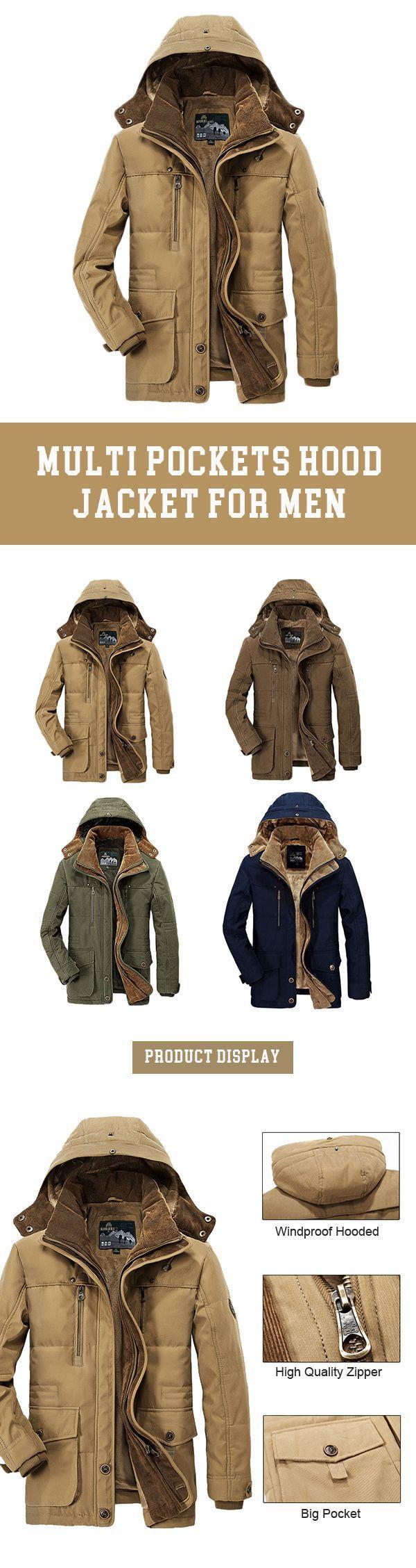 US$75.68 Winter Thicken Warm Multi Pockets Solid Color Detachable Hood Jacket for Men