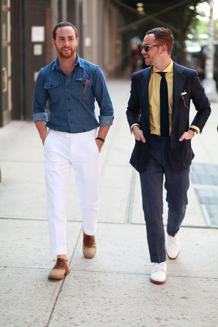 Shimon and Ariel Ovadia: Men Clothing, Fashion People, Shimon Ovadia, Men Style, Denim Shirts, Fashion Friends, Men Fashion, White Pants, Men Suits