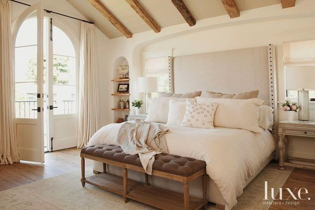 Pretty, country chic bedroom...love the exposed beams