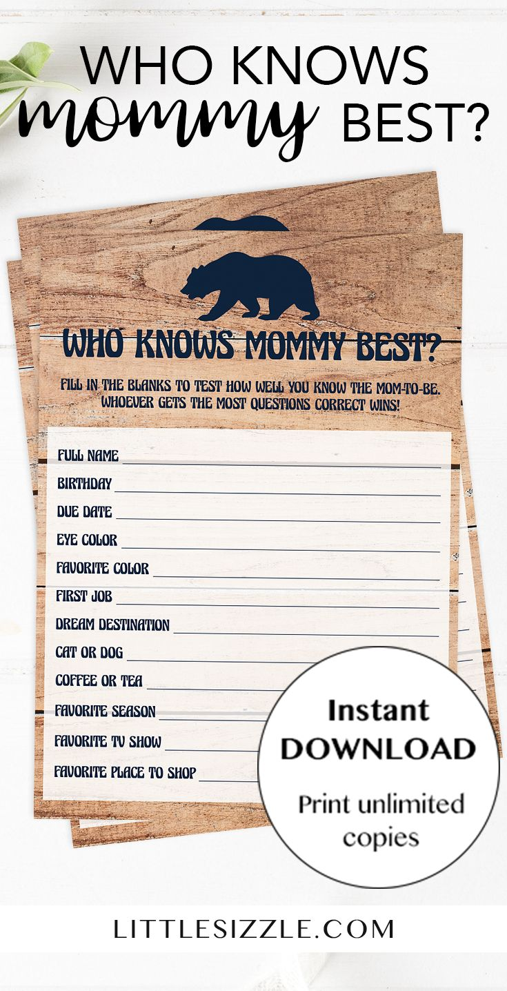 Funny baby shower games by LittleSizzle. Print your own game cards for your baby shower and keep large groups of guests entertained. Test your guests how good they know the mom-to-be and play 'Who knows mommy best' with this rustic baby shower game. This popular game is very easy to play. Simply download and print! These game cards will fit your woodland themed baby shower perfectly! Celebrate the mommy to be's new adventure. #winter #babyshowergames #babyshowerideas4u #printable #DIY