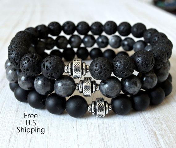 Men's Black Moonstone, lava rock, Onyx, Lavrikite bracelet, Lava bracelet, Onyx bracelet, Protection, grounding, Mens bracelet